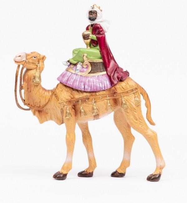 Rey montando camello (1) para belén en color tradicional, 19 cm.