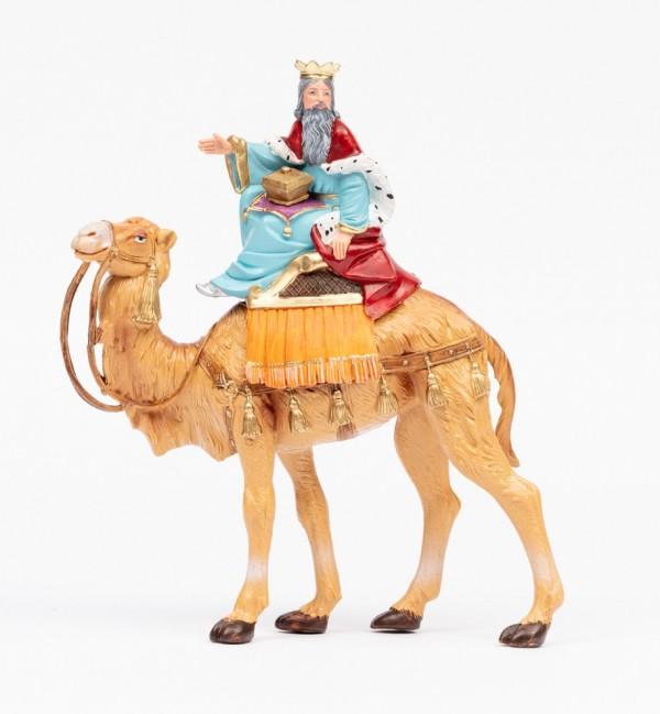 Rey montando camello (2) para belén en color tradicional, 19 cm.