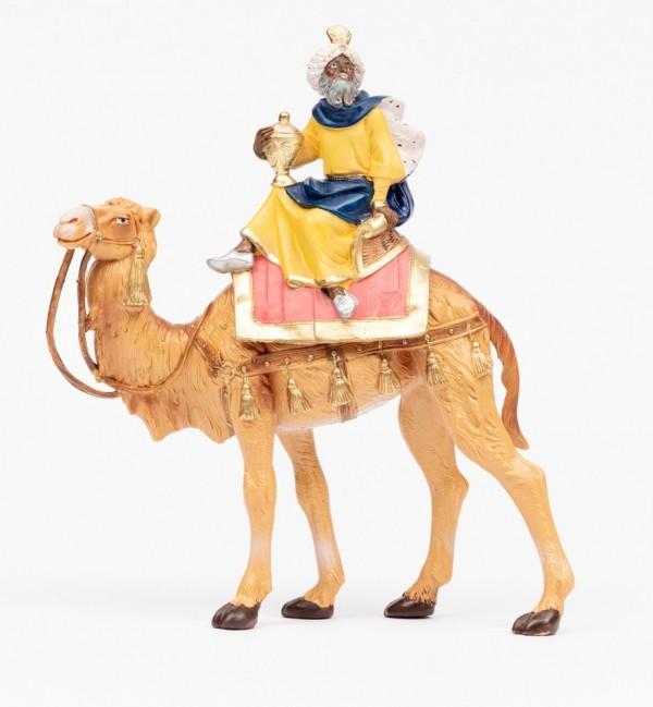 Rey montando  camello (3) para belén en color tradicional, 19 cm.