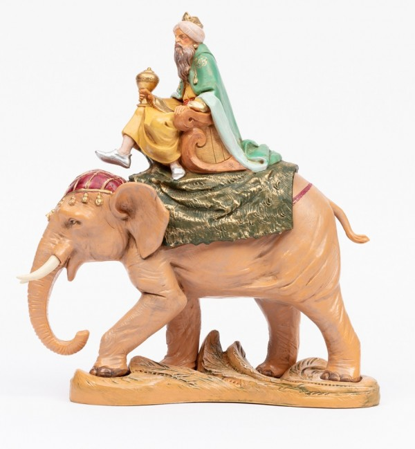 Rey montando elefante para belén 19 cm.